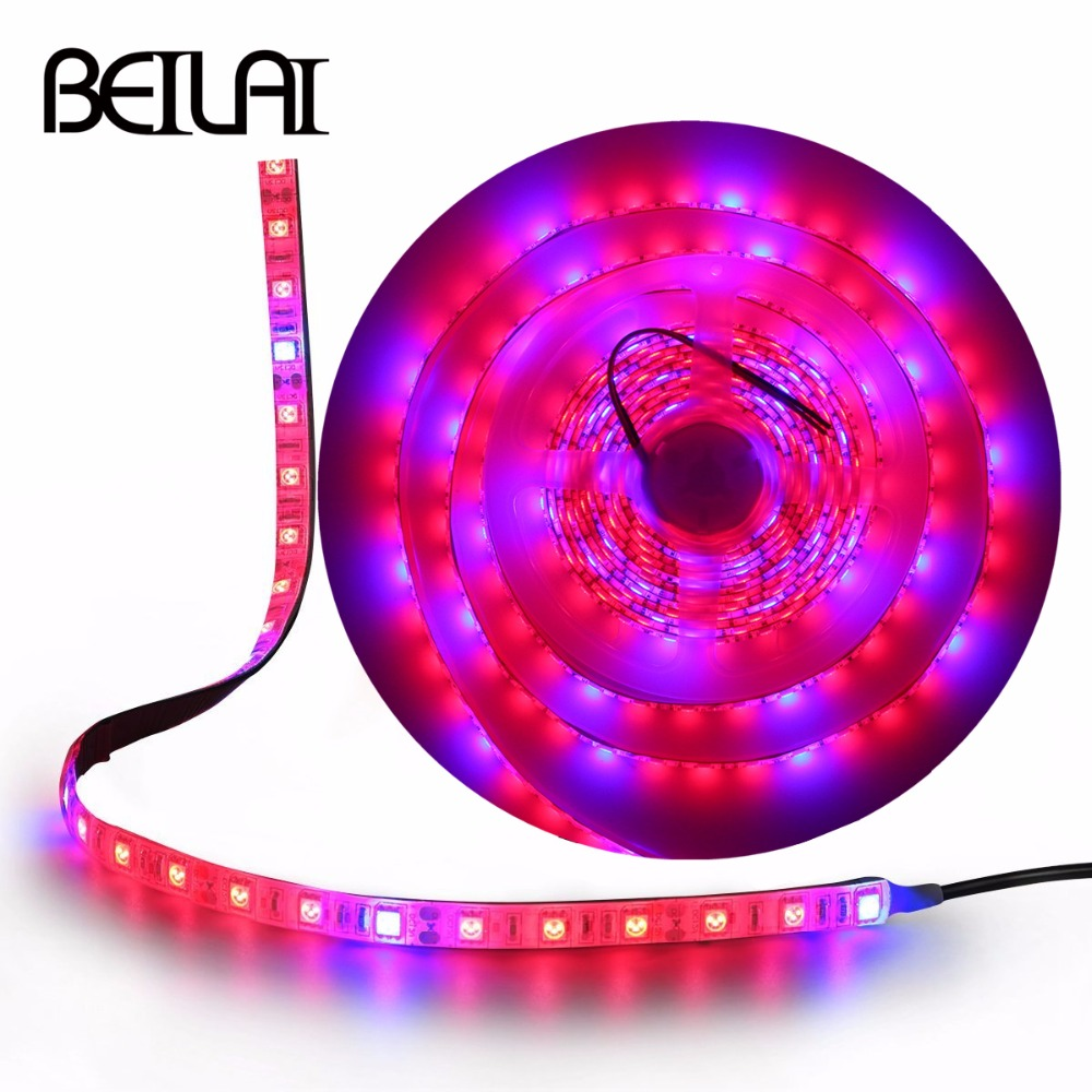 5050 LED Strip Grow Lights Flexible Tape DC12V Waterproof 5M LED Phyto Plant Growth Lamp For Greenhouse Hydroponic Plant Growing