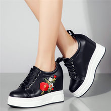 2019 Tennis Shoes Women Lace Up Genuine Leather High Heel Pumps Wedges Platform Oxfords Casual Low Top Punk Creepers