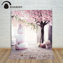 6.5ft*10ft pink Photo free garden backgrounds brick wall cake with cherry trees Photography backdrops Studio For baby Photos