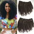7pcs/lot Afro Kinky Curly Clip In Human Hair Extensions 8-24inch Virgin Malaysian Curly Hair Natural Black