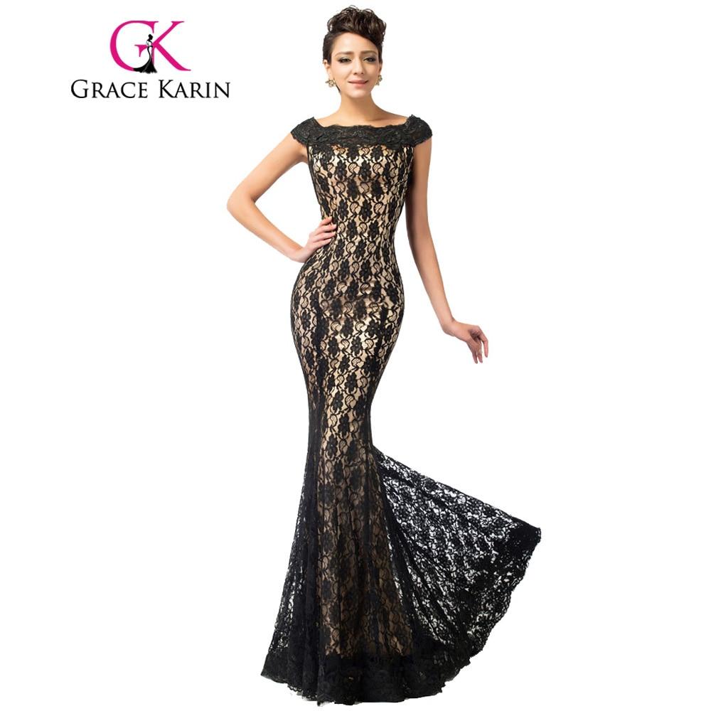 Grace Karin Elegant Mermaid Evening Dresses Women Boat Neck Lace ...