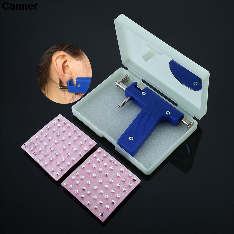 Canner Steel Ear Piercing Studs Gun Tool Kit Including 98pcs Instrument Studs Set Ear Hole Drilling Machine Beauty Tool Set C2