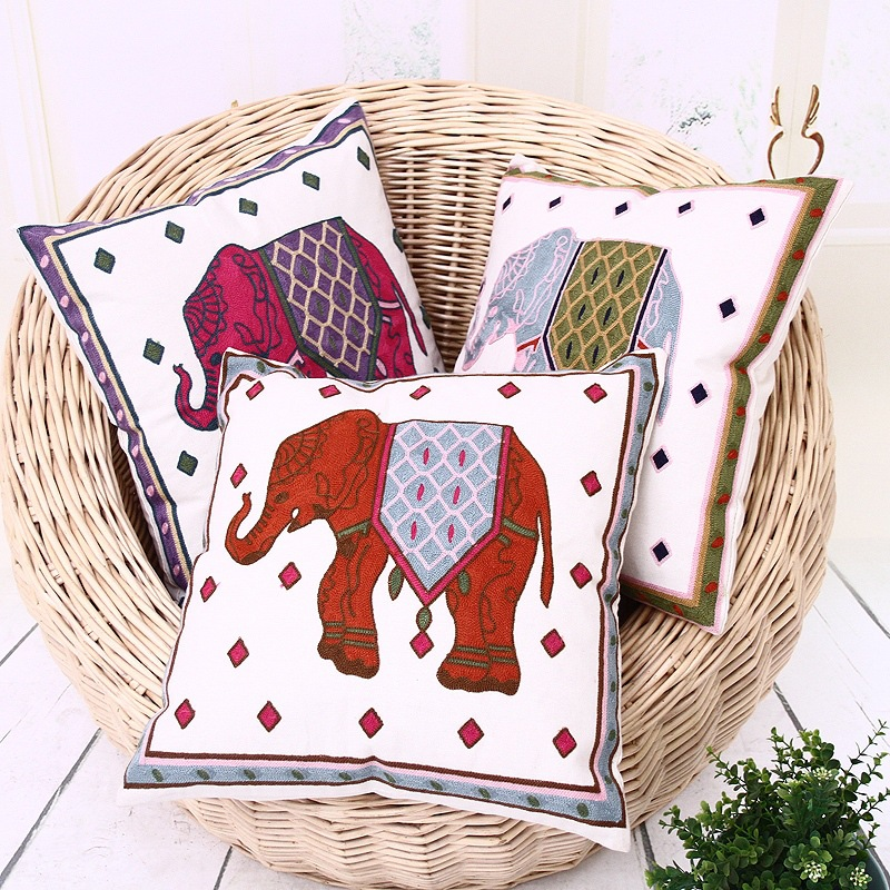size 45*45cm national style embroidery animal flower cotton and linen cushion sets home decoration textile process living room