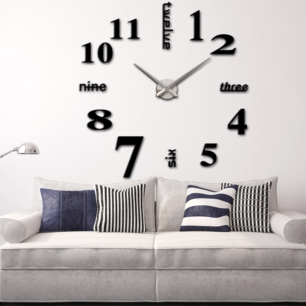 3d diy wall clock creative large watch decor stickers set mirror 3d diy wall clock creative large watch decor stickers set mirror clock effect acrylic glass decal home removable decoration in wall clocks from home amipublicfo Choice Image