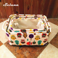 3pcs Folding Cotton Storage Box Canvas Toy Basket Animal Desktop Cute Printing Linen Cosmetic Sundries Storage Bag Organizer Kid