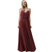 Long Burgundy Bridesmaid Dresses for Women Vestido De Festa Longo Flowy Chiffon Guest Dress for Beach Wedding Party