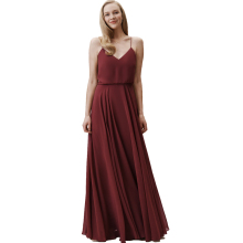 Romantic V-neck Spaghetti Straps Bridesmaid Dresses Chiffon Beach Wedding Party Guest Formal Gowns Long Prom Dress Burgundy