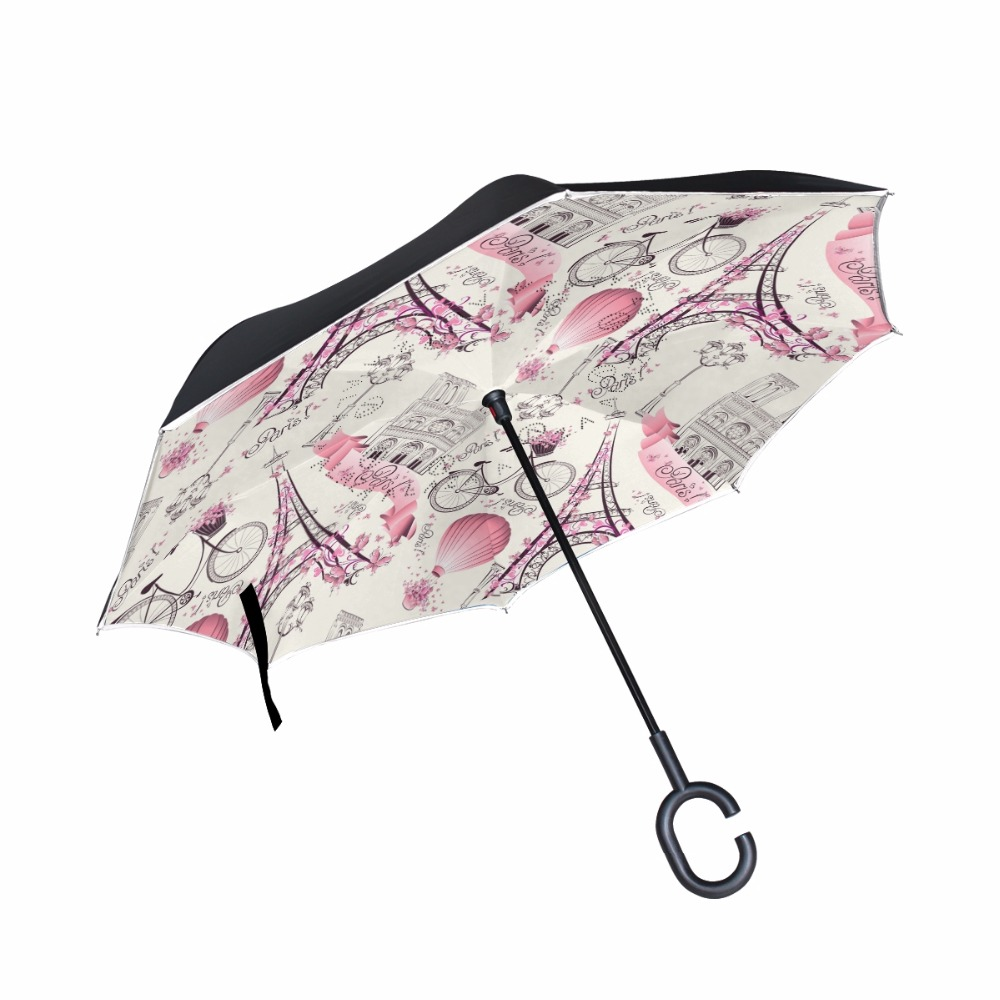 Eiffel Tower And Vintage Bicycle Pattern Reverse Umbrella