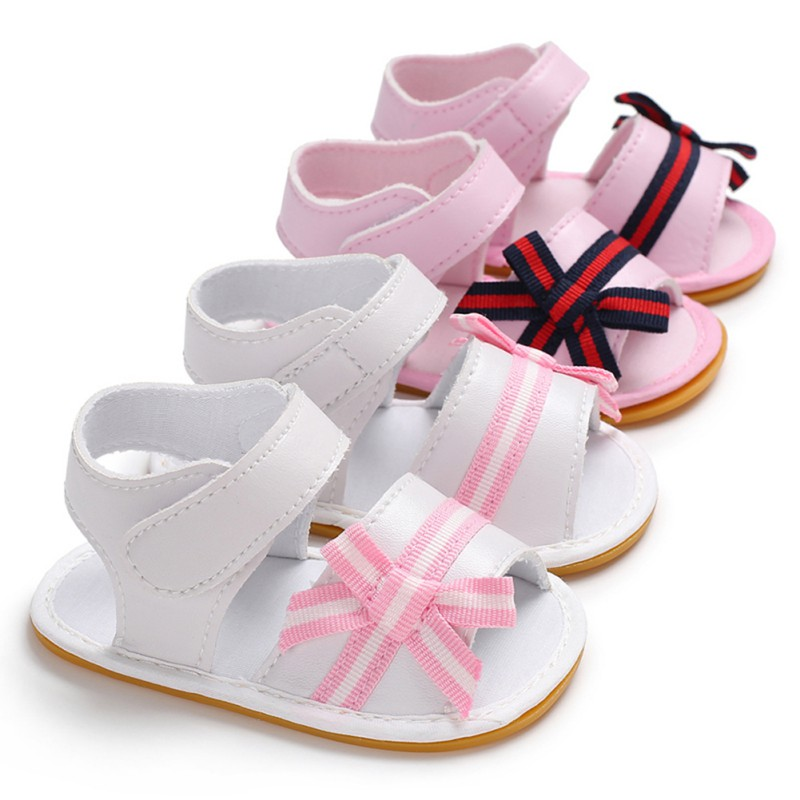 First Walker Newborn Baby Girls Shoes Fashion Pu Leather Princess Stripped Bow Rubber Sole Outdoor Shoes