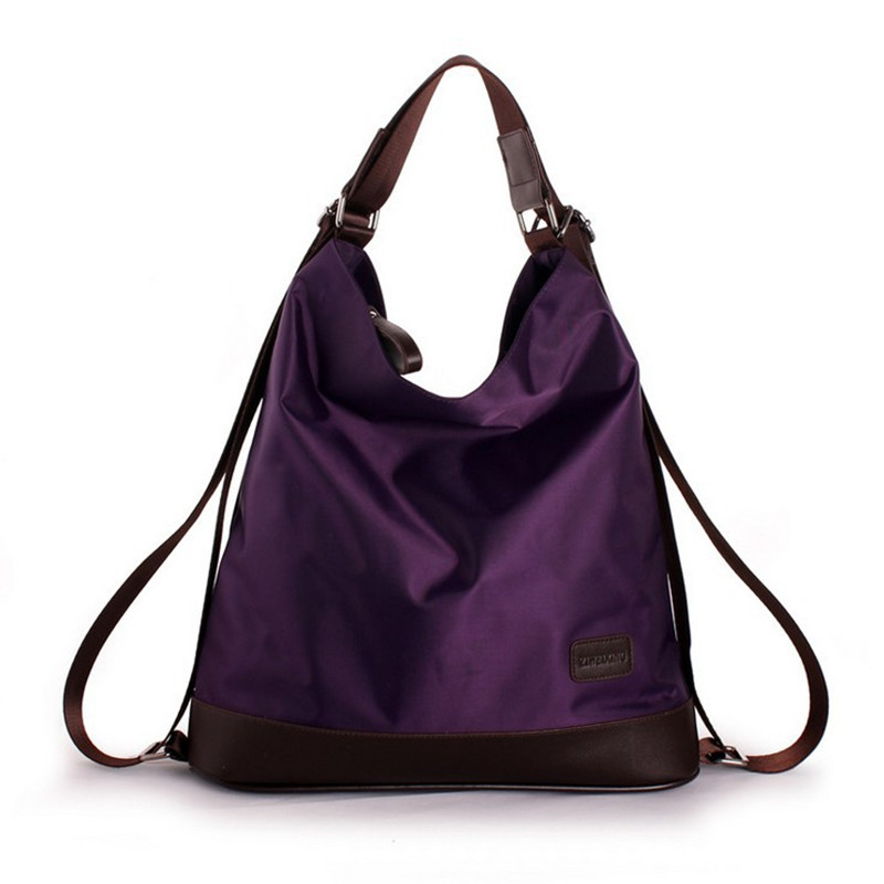 Women Nylon Purple Tote Handbag Shoulder Bag Large Capacity Multifunction Double
