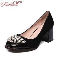 FACNDINLL Office lady strass pattini di vestito pompe di modo del cuoio genuino scarpe col tacco alto donna scarpe casual nere nude pompa