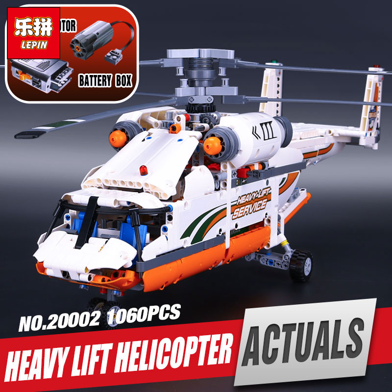 Фотография Lepin 20002 new technology series mechanical group high load helicopter blocks Compatible With Boy assembling toys 42052