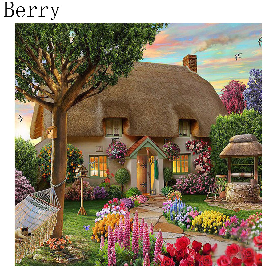 Garden house kit - Diy 5d Diamond Painting Scenic Garden House 3d Cross Stitch Kit Full Rhinestone Ribbon Embroidery Landscape