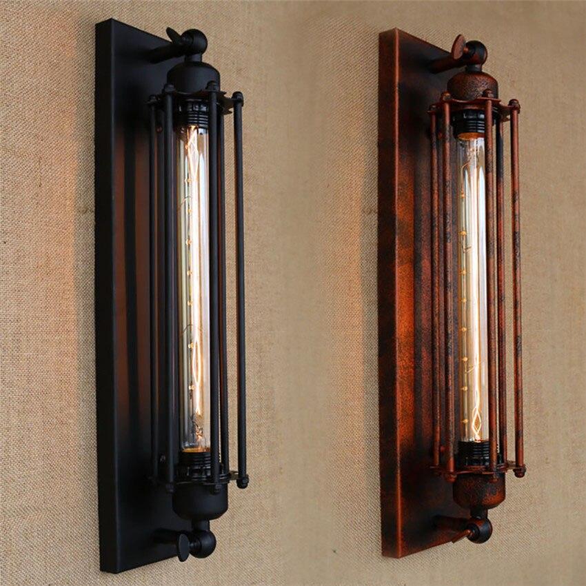 ФОТО Loft Style Black/Rust Antique Industrial lighting Iron Edison Wall Lamp,Bedside Wall Light Deco for bar coffee home Lighting