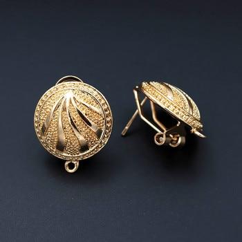 Clip Earring Post with Loop Connectors Circle Saudi Arabic Nigeria African Women Wedding Earrings Findings DIY Jewelry Making