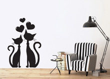 Removable Wall Sticker Cat Couple in Love Heart in March Spring Vinyl wall Decal 3d Poster Mural Wallpaper Vinilos Paredes D933