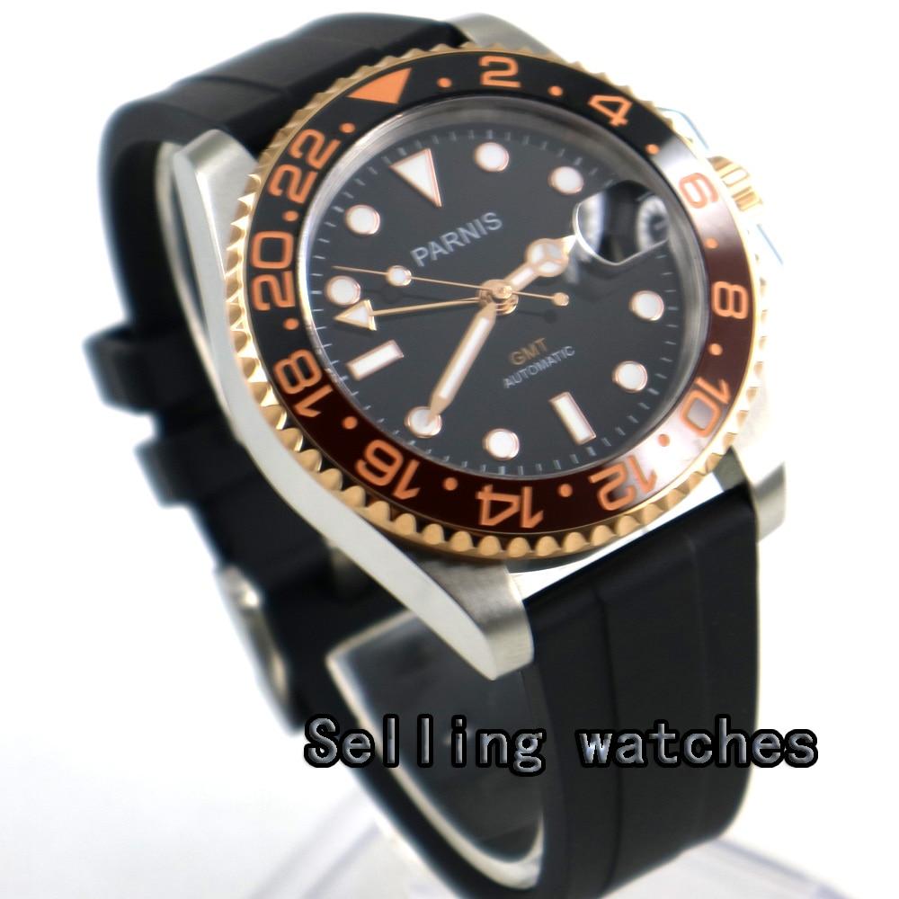 40mm PARNIS black dial Sapphire glass ceramic bezel GMT automatic men watch sapphire glass parnis 40mm gmt date ceramic bezel automatic men s watch