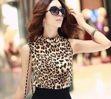 Hot Sale Women Shirts Fashion T-Shirts Leopard Painting Womens Bottoming Shirt Top Sleeveless Vest Sales