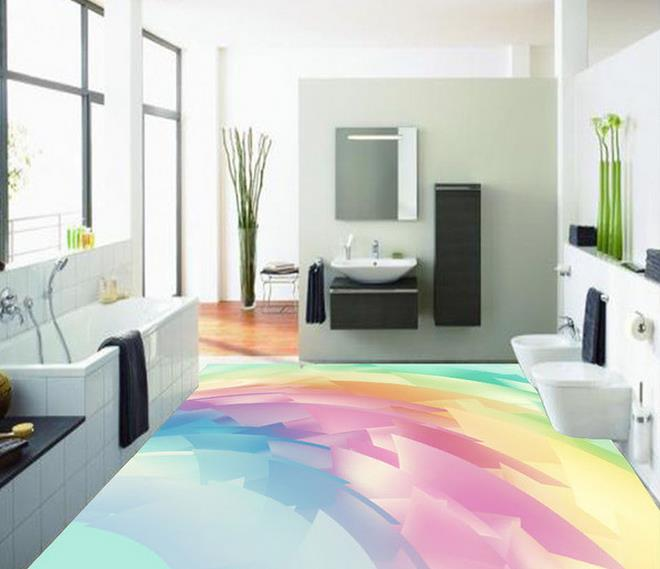 3d flooring Abstract Rainbow 3D floor pvc self-adhesive wallpaper 3d floor painting wallpaper free shipping 3d carp lotus pond lotus flooring painting tea house study self adhesive floor wallpaper mural