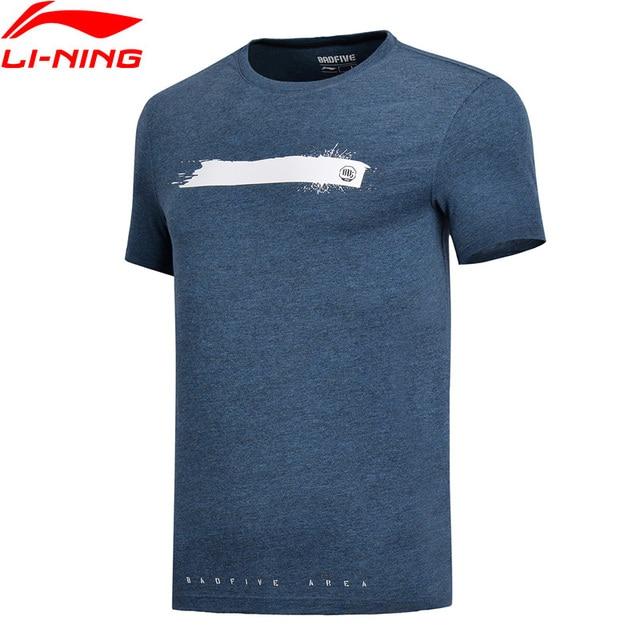 LI-Ning мужские баскетбольные майки серии 100% хлопок дышащая Стандартная посадка подкладка удобные спортивные футболки футболка AHSN043 MTS2752