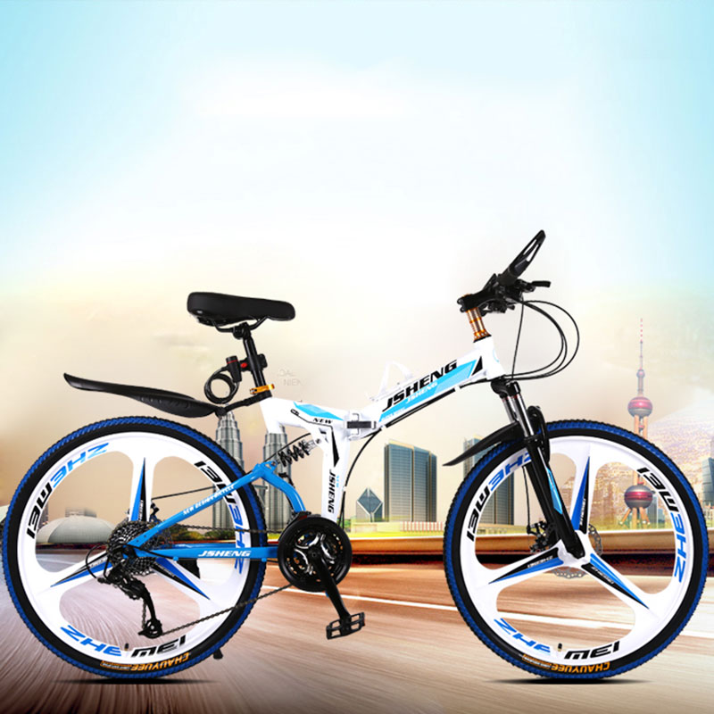 21/24/27 Mountain Bicycle 26-inch Double Shock Absorber Speed Folding Adult Male And Female Students One Round Ultra-light Bike