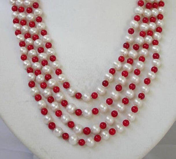 1006mm red coral +SOUTH SEA PEARL white 7-8mmpearl Necklace1006mm red coral +SOUTH SEA PEARL white 7-8mmpearl Necklace
