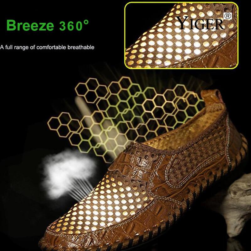 YIGER Novi muškarci Neto obuća Genuine Leather Summer Casual - Muške cipele - Foto 4