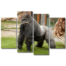 Art Modular Poster Frame HD Printed Modern Canvas 4 Panel Black Gorilla Animal Painting Wall Living Room Pictures Home Decor