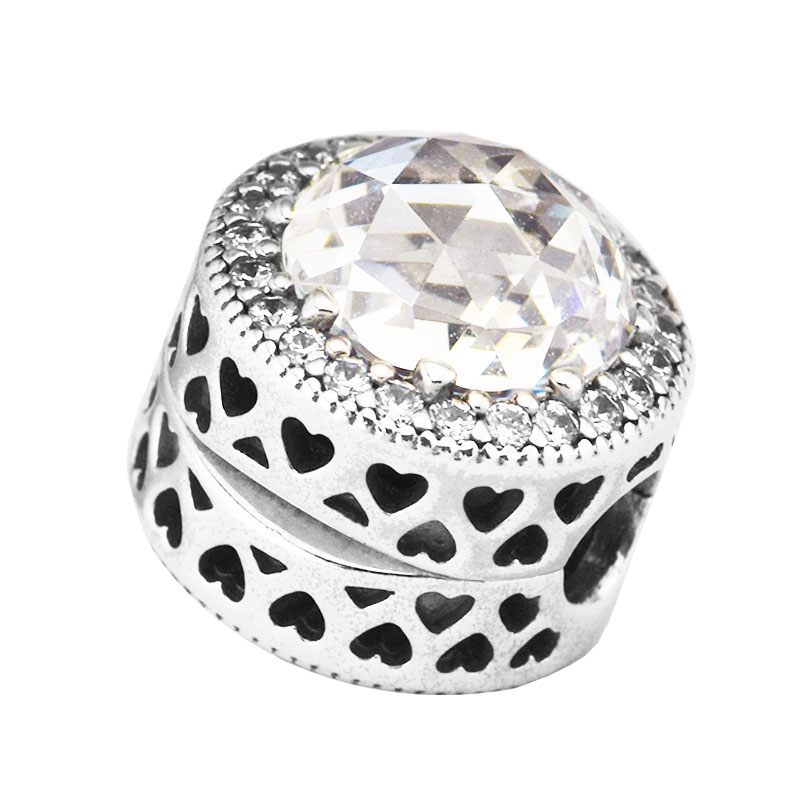 Pandulaso S925 Sterling Silver Jewelry beads DIY Making Radiant Stones Hearts Clip Bead Fine Jewelry Mid-Autumn New StylePandulaso S925 Sterling Silver Jewelry beads DIY Making Radiant Stones Hearts Clip Bead Fine Jewelry Mid-Autumn New Style