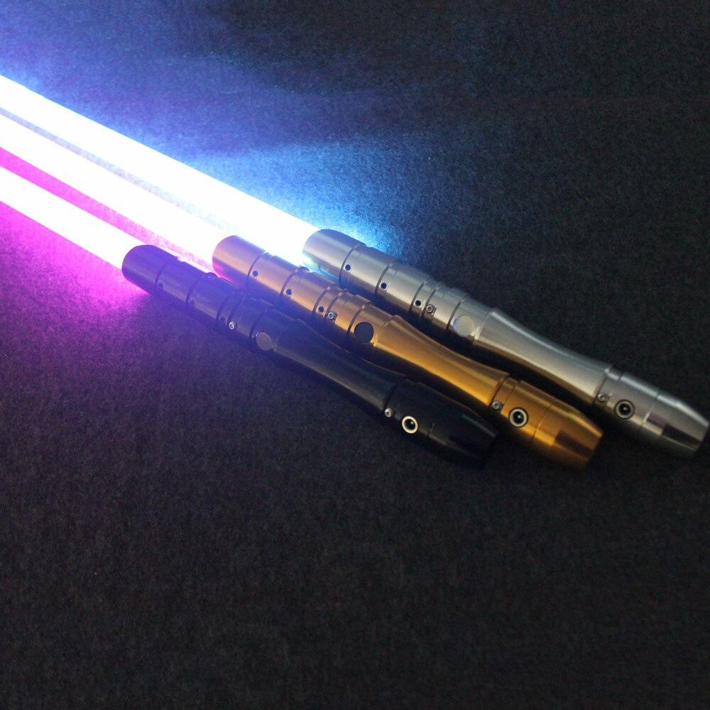Cosplay sable de luz con sonido de luz Led rojo verde azul sable láser espada de Metal juguetes cumpleaños chico niño regalos juego