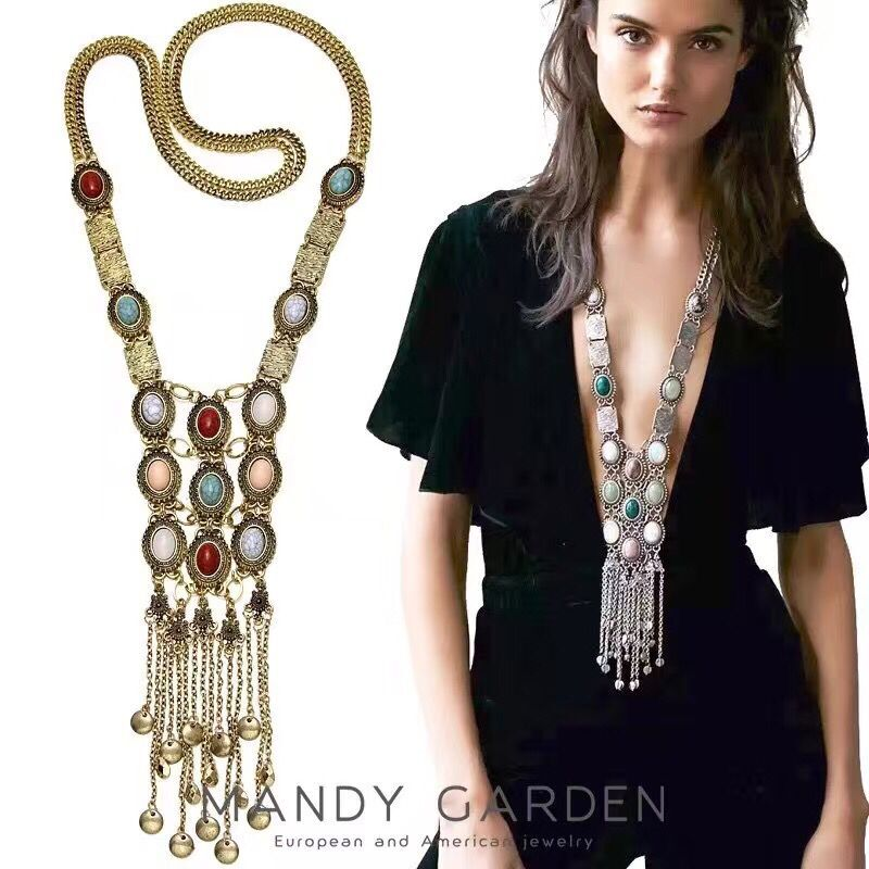 Spx6854 New Fashion Bohemian Bead Blue Stone Necklaces Fashion Beads Tassel Necklaces For Women