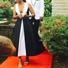 Abiye gece elbisesi vestido Formal vestidos largos de noche blanco y negro 2018 cuello transparente abendkleider vestidos de noche elegantes - 2