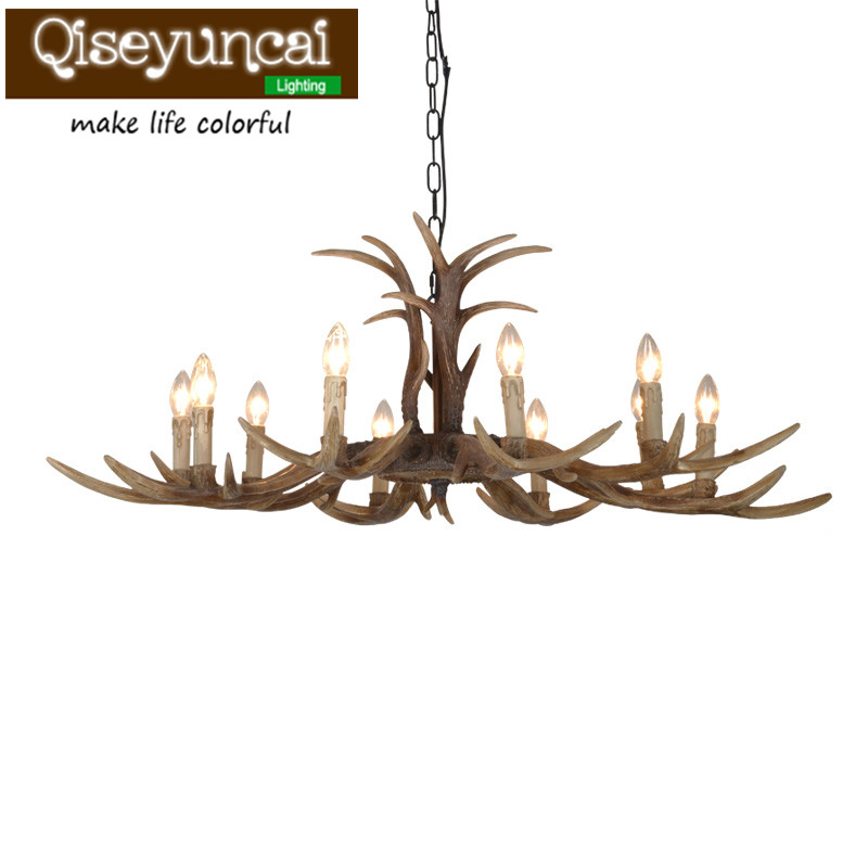 Qiseyuncai American Country Lifestyle Antlers Antique color Yurts 10 head Pendant Lamps Living Room Villas Club Art Lighting