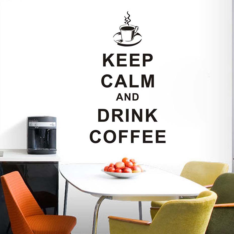 Keep Calm Drink And Coffee Word Wall Sticker For Kitchen And Cafe ...