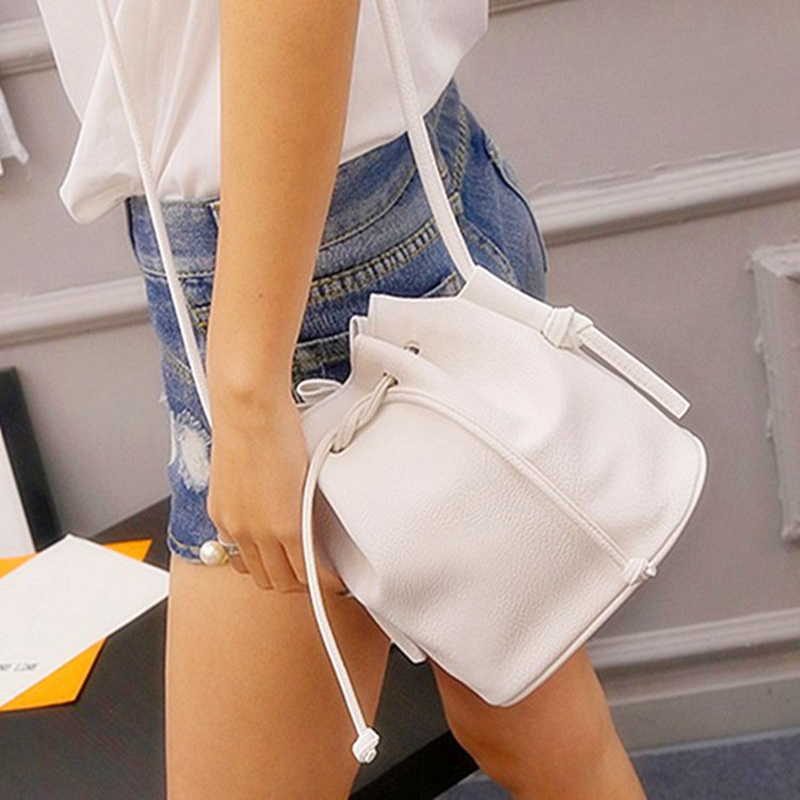Hanup Fashion Women Bucket Bag Candy Color Women Shoulder Bags Quality PU Leather Crossbody Bags Female Handbags