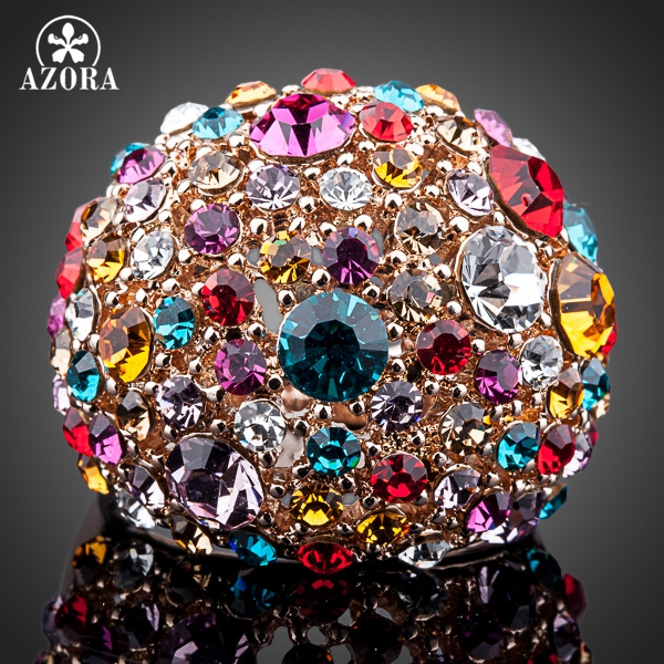AZORA Gorgeous Rose Gold Color Multicolour Stellux österrikiska Crystal Ring TR0102