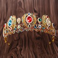 European Baroque Big Rhinestone Pearl Bridal Tiara Wedding Hair Accessories Royal Queen Princess Pageant Crown Hair Ornaments