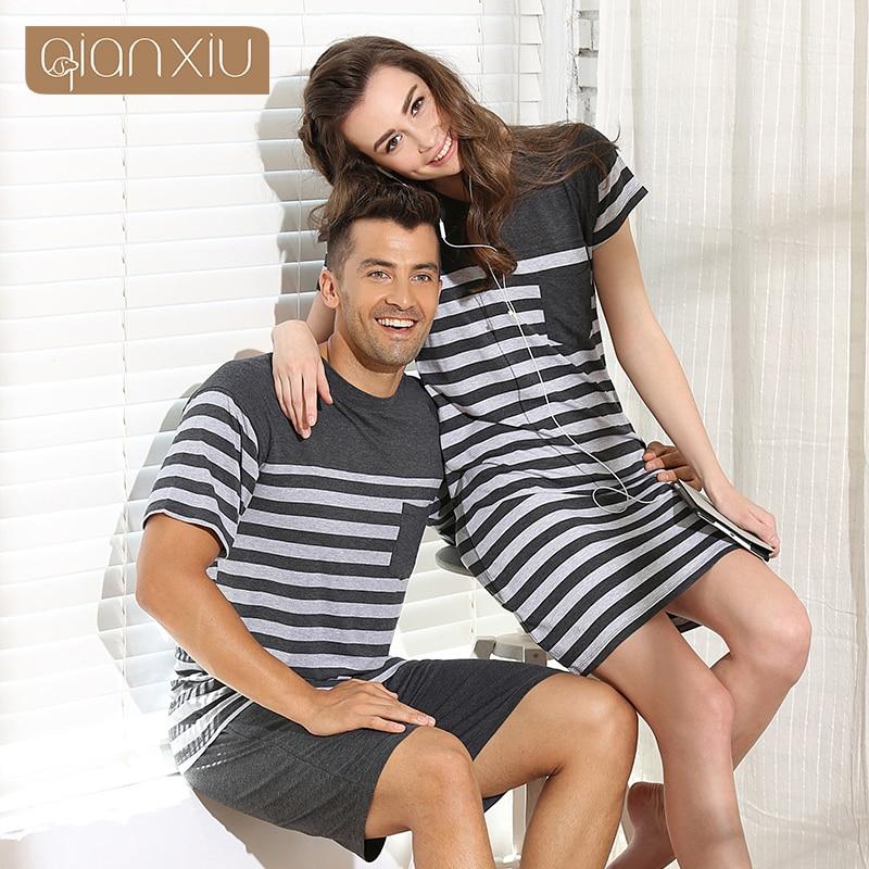 Qianxiu Pajama For Men Summer Modal  Men pajama Set Women Sleepshirts Couples stripes Sleepwear  homewear