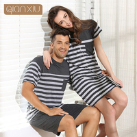 Qianxiu Summer Modal Classic Stripes Men Pajama Set Women Sleepshirts