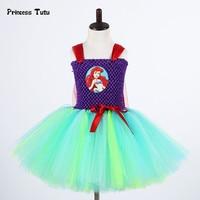 ارييل الأميرة حورية اللباس الفتيات تول توتو اللباس الأطفال ملابس الاطفال الفتيات هالوين الحزب تأثيري اللباس زي عيد