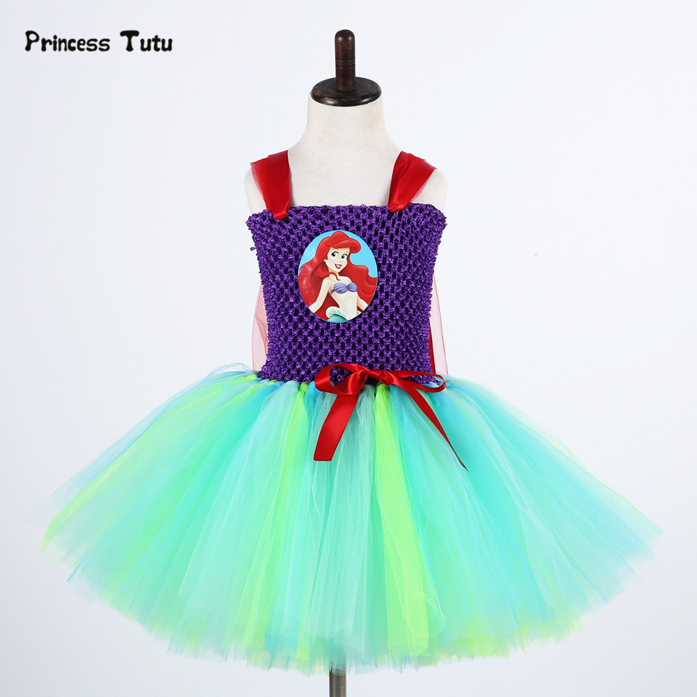 Mermai Ariel Princess Dress Girls Tulle Tutu Dress Kids Girls Halloween Party Christmas Cosplay Dress Costume Children Clothing fancy girl mermai ariel dress pink princess tutu dress baby girl birthday party tulle dresses kids cosplay halloween costume