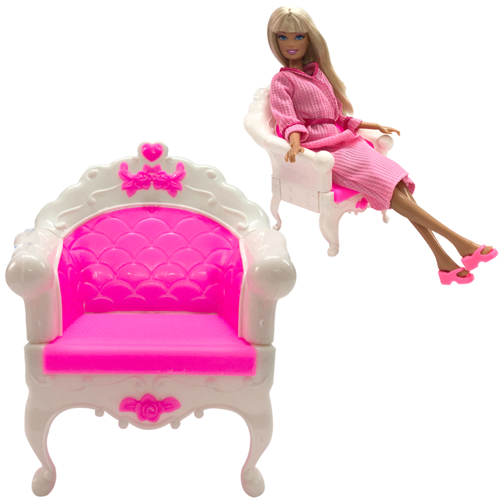 NK One Pcs Doll Accessories Fashion Style Princess Dream House Chair Plastic  Sofa Armchair Furniture For Barbie Doll Best Gift