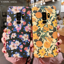 YHBBCASES Retro Oil Painting Flowers Cases For Samsung Note 10 8 9 3D Relief Floral Hard Phone Cover S10 S8 S9 Plus
