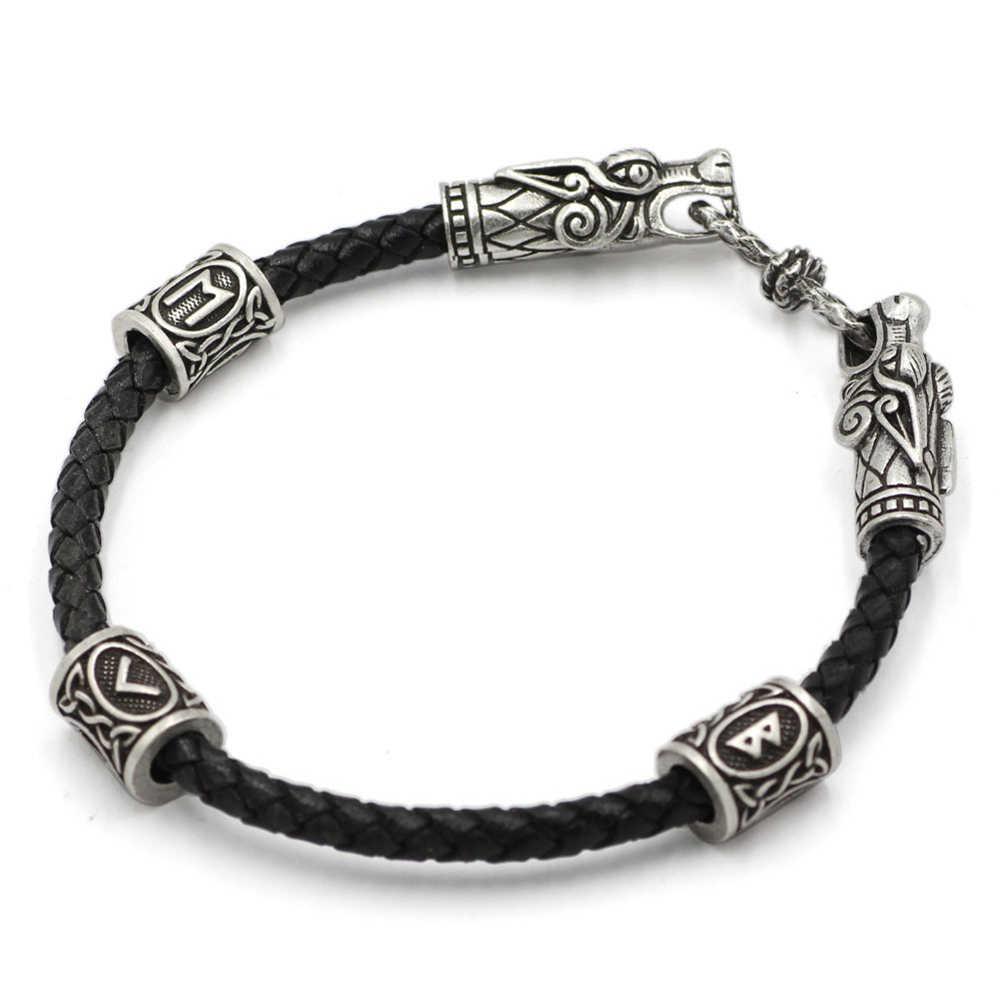 Odins, Ворон, кожаный браслет Викинга, Викинг, бусины, голова дракона, браслет, серебряный браслет Викинг, браслет, языческие мужские ювелирные изделия, славянские