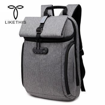 Fashion Multifunctional Anti Theft USB Laptop Backpack Waterproof Laptop Backpack Men Password Lock School Bag Travel