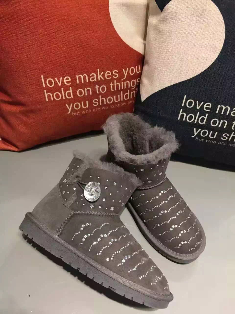 Swarovski crystal buckle Sheepskin Fur leather MINI short women shoes women  boots 2017 with rhinestones winter boots lady boot-in Snow Boots from Shoes  on ... 72600fb11c00