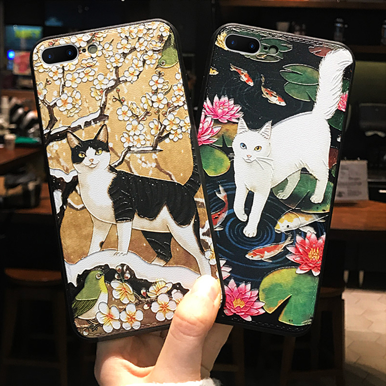 3D Emboss <font><b>Cat</b></font> <font><b>Case</b></font> For <font><b>Samsung</b></font> <font><b>Galaxy</b></font> A50 A30 A40 A70 S7 Edge S8 S9 S10 J4 J6 Plus S10e A7 <font><b>A8</b></font> A9 Plus <font><b>2018</b></font> M10 M20 Note 8 9 <font><b>Case</b></font> image