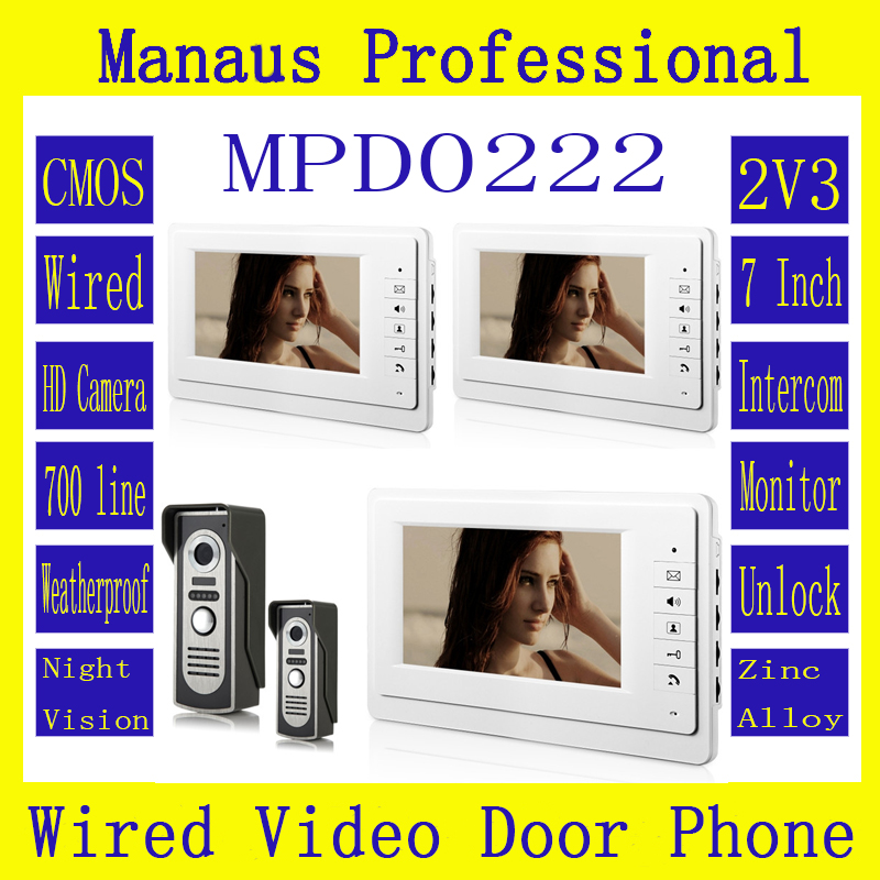 HighQuality Professional SmartHome 7 TFT LCD Screen Video Intercom Phone,Two to Three Video Doorphone Kit Configuration D222a