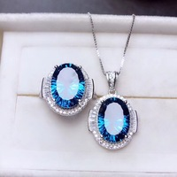 pure clear blue gemstone ring and necklace with 925 silver