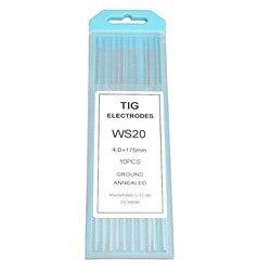 Rstar do spawania metodą TIG elektrody wolframowe kompozytowe WS20 turkusowy wolframu 5/32x7 lub 4.0 MM * 175 MM (błękit nieba  WS) 10-Pack